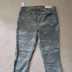 Camo skinny ankle jeans